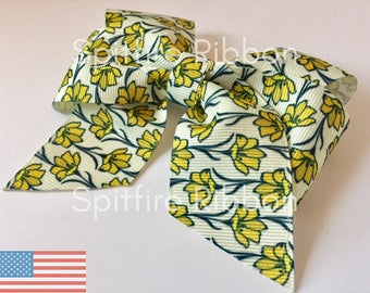 Buttercups Bow | USDR | Yellow Flower Bow | Grosgrain | 4 Inch