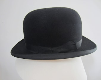 1940s Vintage Black Bowler Hat by G.A. Dunn & Co London