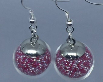 Pink and white Sphere earrings