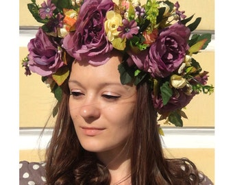 Ukrainian Violet Wreath Folk Head Attire Vinok Women Flowered wreath Flowered crown Girl Accessory Flower Venok National clothes Ukraine