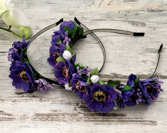 Ukrainian Violet Wreath Folk Head Attire Vinok Women Flowered wreath Snowdrop crown Girl Accessory Flower Venok National clothes Ukraine