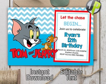 Tom And Jerry Invitation Invitations Party Birthday Editbale