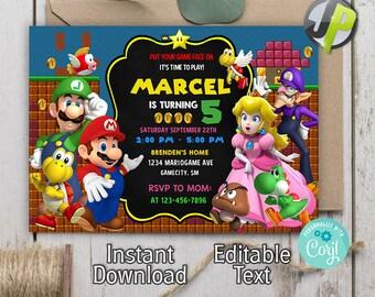 Mario Invitations Etsy