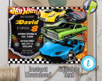 Hot Wheels Invite Etsy