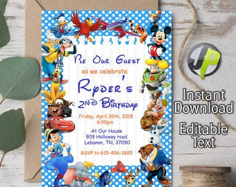 Disney Invitation Character Birthday Characters Party Editable