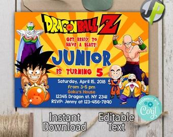 Dragon Ball Z Invitation Birthday Invitations Party DragonBall Super