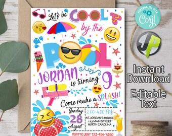 Emoji Pool Party Invitations Etsy