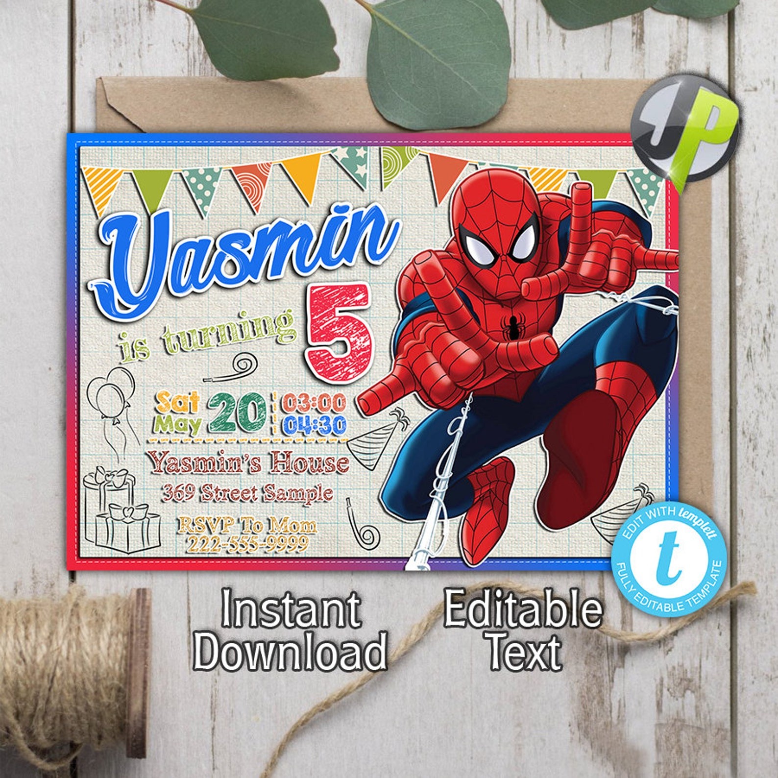 Printable Spiderman Invitations Page Two