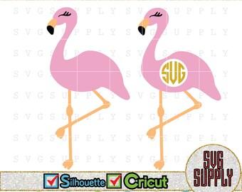 Flamingo SVG, Flamingo Monogram SVG cut file vinyl decal for silhouette cameo cricut iron on transfer on mug shirt fabric design