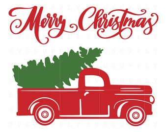 Christmas Tree Truck SVG cut file vinyl decal file for silhouette cameo cricut iron on transfer on mug shirt fabric design for all ages
