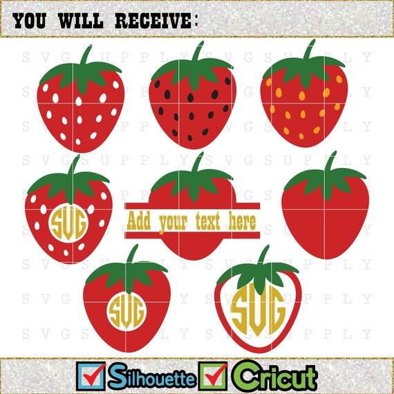 Strawberry Svg Strawberry Monogram Cut File Vinyl Decal For Etsy