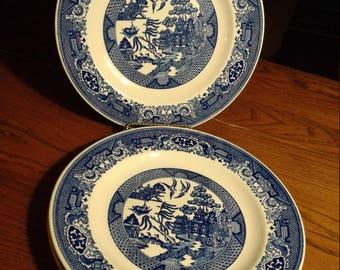 Royal China Blue Willow Ware set of 3 plates
