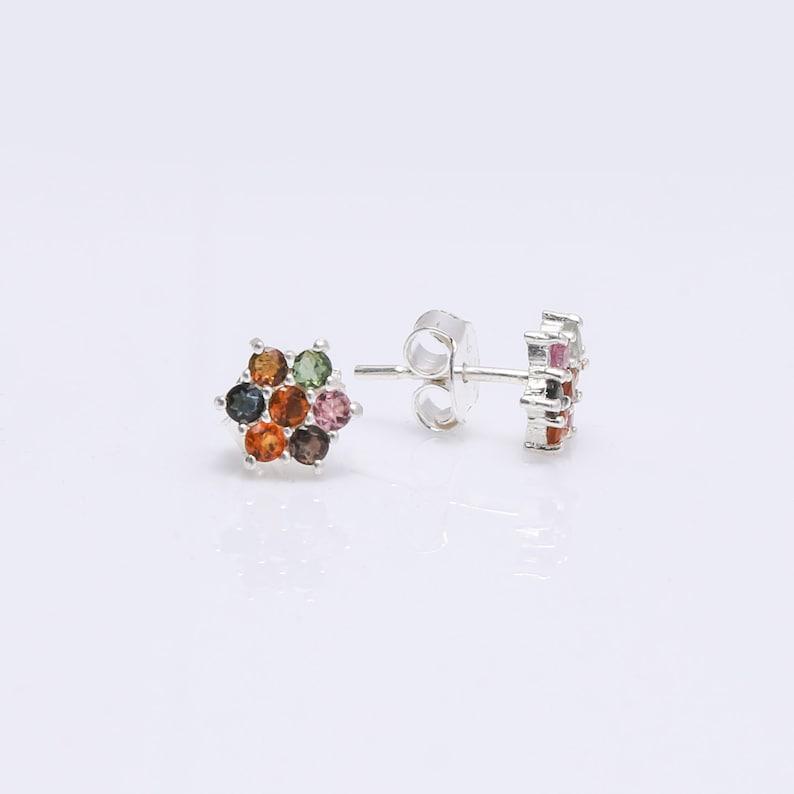 Tourmaline Earrings Beautiful Pretty Gift For Her Tourmaline Multi-color Earrings Gemstone Earrings Stud Earrings 925 Silver Earrings