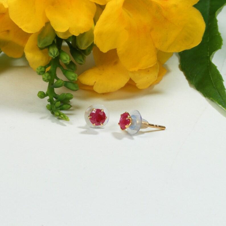 Bridal Jewelry Gift For Her Party Earrings Natural Burma Ruby Stud Earrings 14 k Gold Earrings Burma Ruby Earrings Unique Gifts