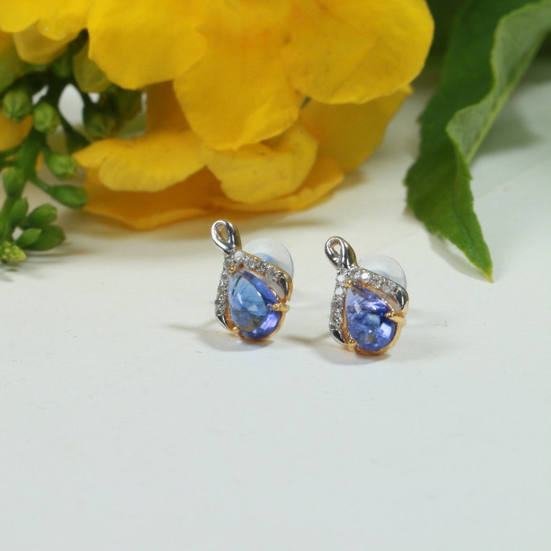Party Earrings Bridal Jewelry Gift For Her 14 k Gold Earrings Diamond /& Tanzanite Earrings Natural Tanzanite and White Diamond Earrings
