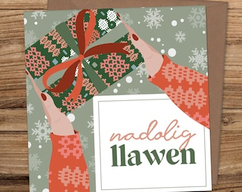 1 x Red SNOWFLAKE Nadolig Llawen HangingSign Welsh saying merry Christmas