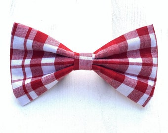 NEW! Red and White Plaid Christmas Dog Bow Tie or Girl Bow