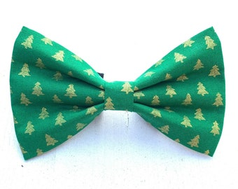 NEW! Green and Gold Christmas Tree Dog Bow Tie