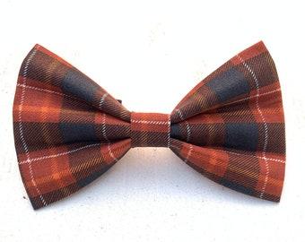 NEW! Orange Brown & Gray Thanksgiving Plaid Dog Bow Tie