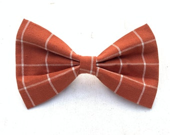 NEW! Dark Orange and Cream Plaid Dog Bow Tie