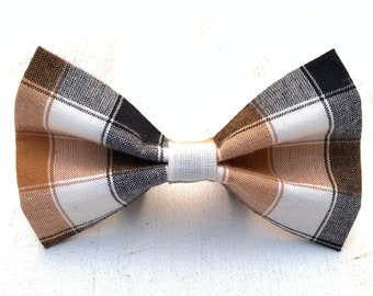 NEW! Black White & Brown S'mores Plaid Dog Bow Tie