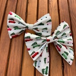 NEW! Christmas Tree Road Trip Dog Bow Tie and Girl Bow