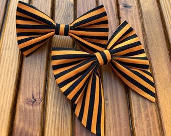 Halloween Stripes Dog Bow Tie *The Dapper Dog Shop*