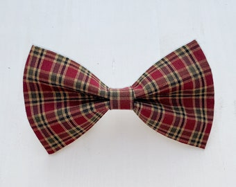 Red Autumn Plaid Dog Bow Tie Or Girl Bow