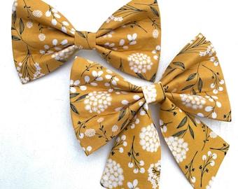 Marigold Floral Fall Dog Bow