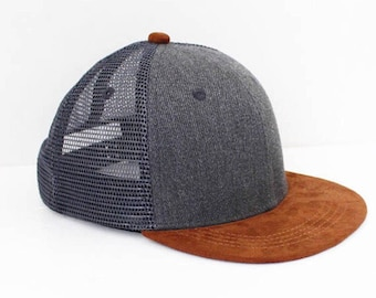 Infant Sized Grey Mesh Suede Snapback Baby Hat • Baby Snapback Infant Flat  Brim • Infant Black Hat • Toddler Snapback • f9c46647902
