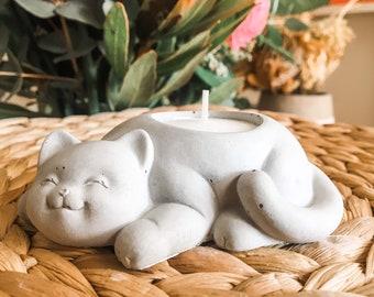Concrete cat tealight candle holder - air plant holder - candle holder - sleeping cat - house warming gift - concrete pot - indoor decor