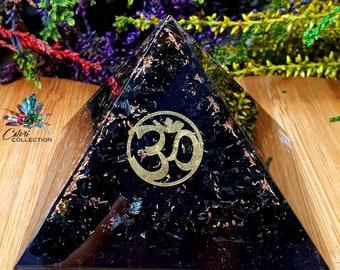 Large Black Tourmaline Orgone Pyramid With Copper Shavings and OM Symbol Spiritual Crystals Manifestation Crystals Handmade