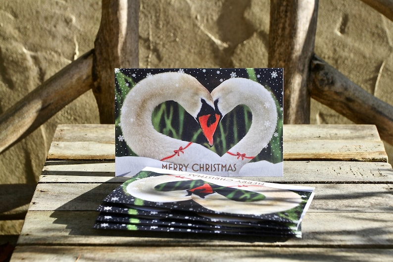Swan Sweethearts Christmas Card  Pack of 5  Swan Christmas image 0
