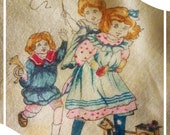 Antique Pair of Silk Handkerchiefs with Images of Adorable Children Playing Pretty 1900-1910 Silk Hanky Set with Pink and Yellow Trim
