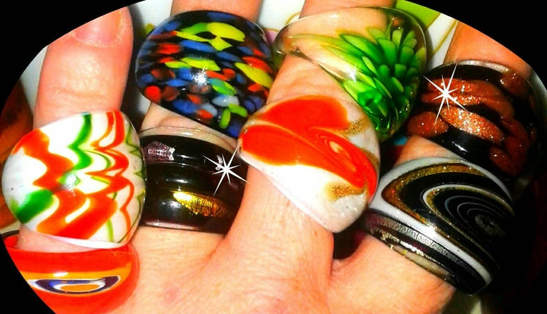 0860f62a5a89 Vintage Handcrafted Murano Style Glass Rings   Chunky and