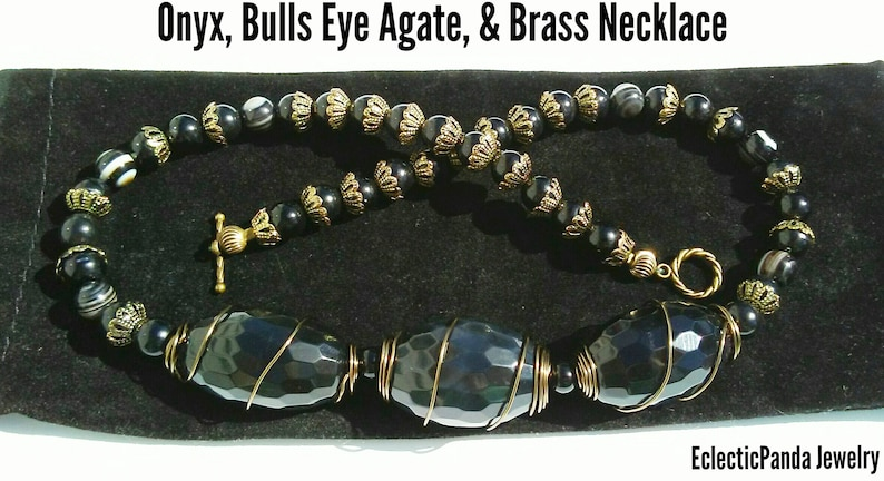 Stunning Black Onyx /& Banded Bulls Eye Agate Beaded Necklace   Massive Faceted Natural Onyx Necklace with Antiqued Brass Filigree Accents