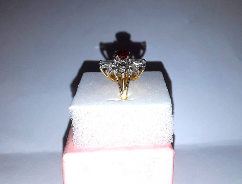 Roaring 1920s Art Deco Ruby and Diamond Paste Cocktail Ring  Antique 18K HGE Starburst Style Ruby Ring With UK Birmingham Assay Stamp