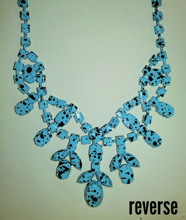 Vintage Spotted Turquoise Rhinestone Bib Necklace  Wild and Unique Painted 1980s Statement Necklace  Jackson Pollock-like Art Necklace
