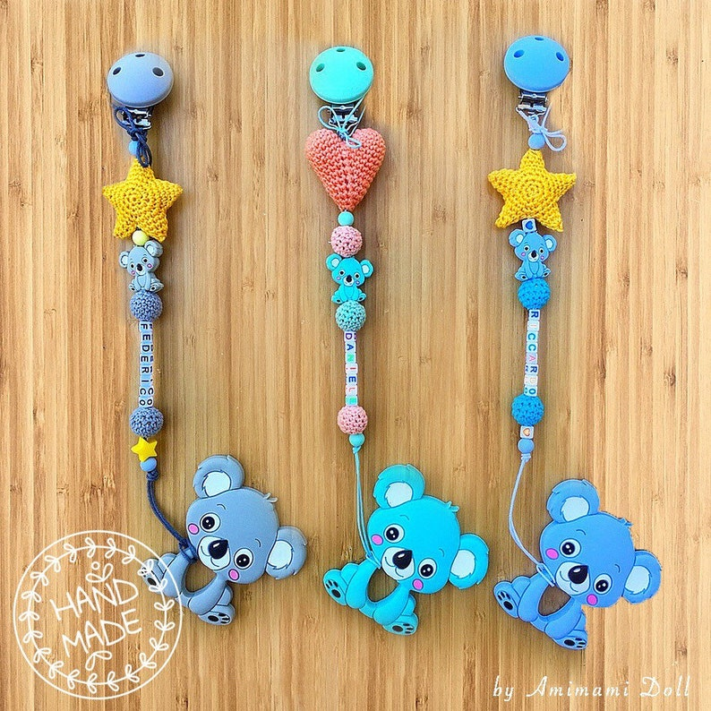 Personalised silicone Dummy Clip Blue bear clip