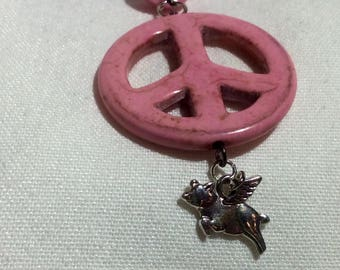 "Original OOAK ""Peace"" when pigs fly! Pink"