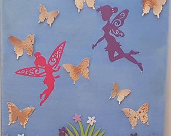 Canvas Fairy Butterfly for Nursery Childs Room