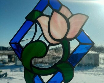 Stained Glass Tulip Suncatcher small panel