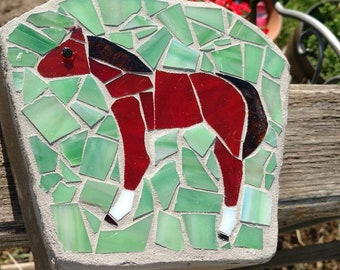 Mosaic Stained Glass Horse Garden Stone