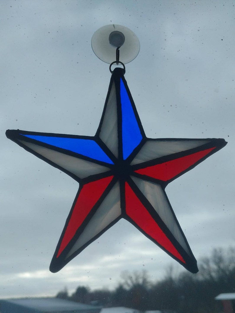 Stained Glass Red White and Blue Patriotic Star Suncatcher