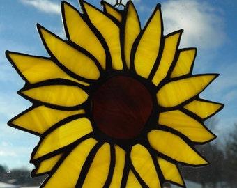 Stained Glass Yellow or Orange Sunflower Suncatcher.