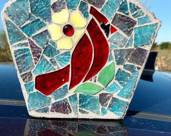 Mosaic Stained Glass Cardinal Garden Stone
