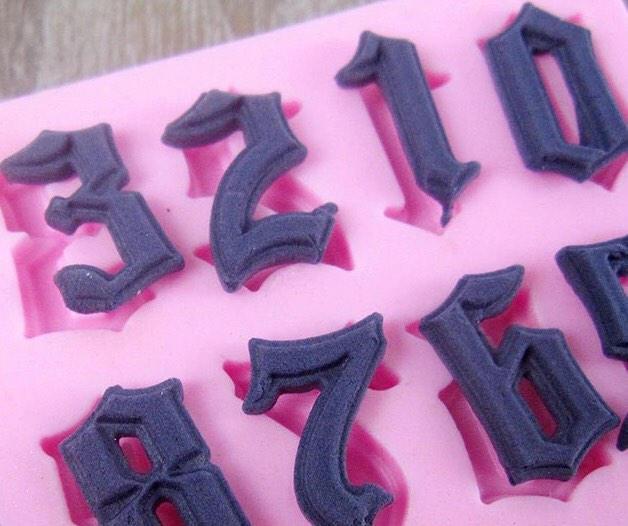 Gothic Numbers 10 Type Face Birthday Cake Silicone Mould Fondant Royal Icing Sugar Paste Chocolate Celebration