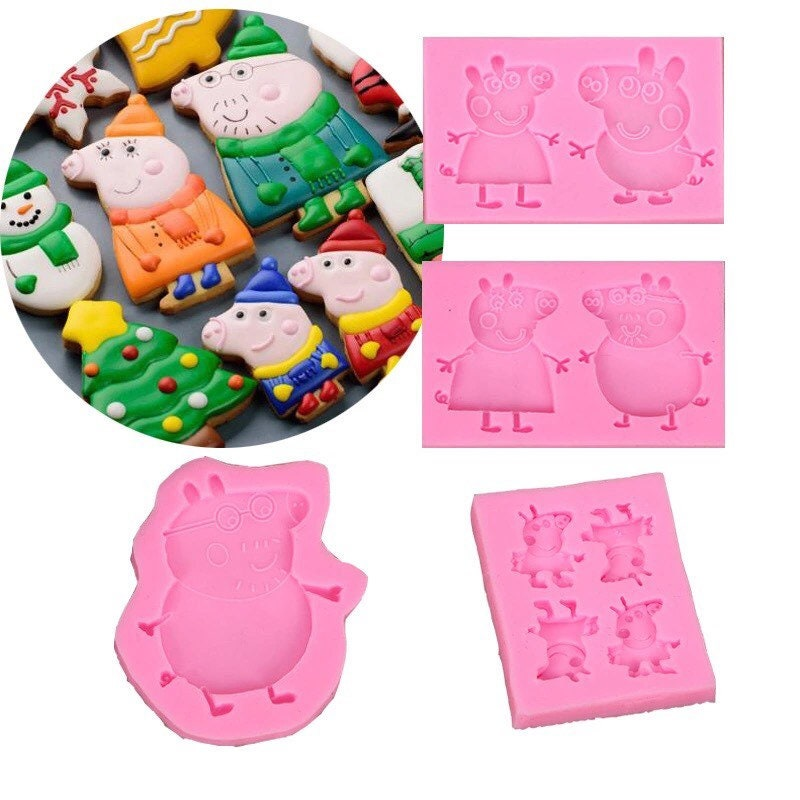 Tiny Peppa Pigs X 4 Peppa Pig Friends Silicone Mould Cake