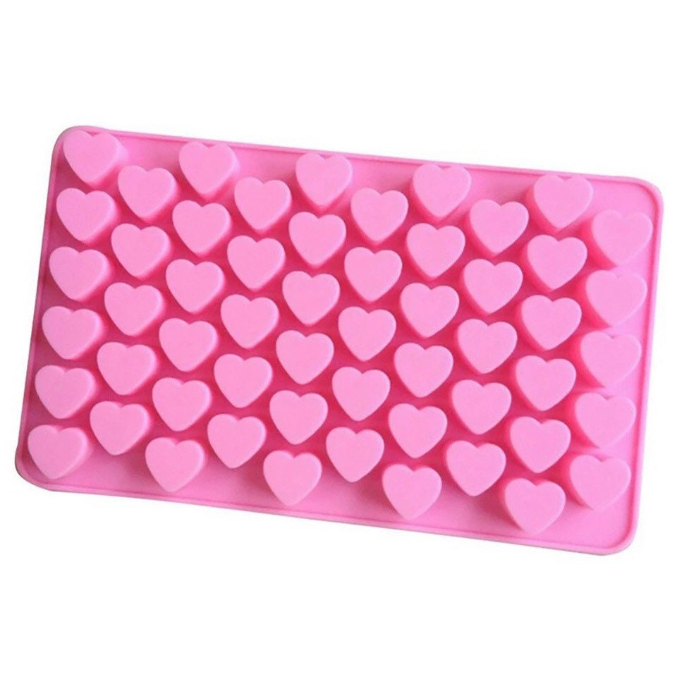 55 Pink Mini Hearts Silicone Mould Ice Cake Decorating Chocolate Valentines LOVE