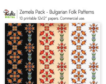 Zemela Pack, Floral Ethnic Patterns Digital Paper, Bulgarian Embroidery Patterns, Scrapbooking Printable Paper Pack, Commercial Use, 12x12